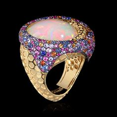 Yellow gold, Opal 9,32 ct., Multicolored sapphires ID: R0052-1/1 10145 USD