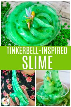 Bring your favorite Disney movie to life with this fun Tinkerbell slime recipe! Make this Tinkerbell slime as a party favor or just for any Tinkerbell lover. We love making Disney inspired slime and this Tinkerbell slime recipe is the best Disney slime recipes yet! It's the perfect sensory activity for Disney lovers. #tinkerbell #disney #slime #slimerecipes #slimer