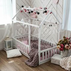Toddler girl floor bed inspiration