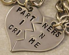 Partners in Crime Keychain - BFF Gift, Best  @#!*%  Split Heart Key Chain - Hand Stamped Best Friend Keychains - Stainless Steel on Wanelo