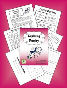 This 13-page poetry packet from Laura Candler includes several days worth of lessons for introducing students to poetic devices and poetry response. You'll find an overview of six common poetic devices, poetry puzzles, a graphic organizer, and a poetry response foldable.$