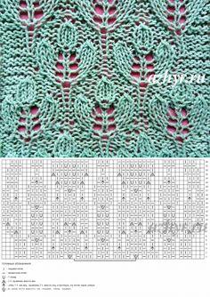 20 the Openwork pattern leaves spokes the scheme Lace Knitting Patterns, Knitting Stiches, Knitting Charts, Lace Patterns, Easy Knitting, Stitch Patterns, Vintage Knitting, Crochet Motif, Knitting Projects
