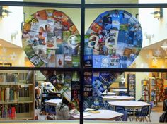 READ heart library display--book cover collage in shape of heart