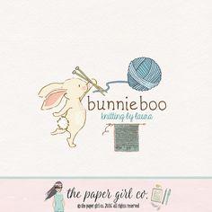 knitting logo design bunny logo design by ThePaperGirlCo on Etsy