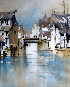 Early Morning Sketch - Feng Jing, China. Thomas W Schaller. Plein-Air Watercolor. 22x15 inches - 24 Nov 2017.