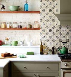 Love the patterned tile. Open shelves