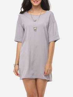 Plain Concise Round Neck Shift-dress