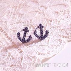 Anker Ohrstecker in Grau ♡ Anchor Earrings in Grey // #lovelythingscom