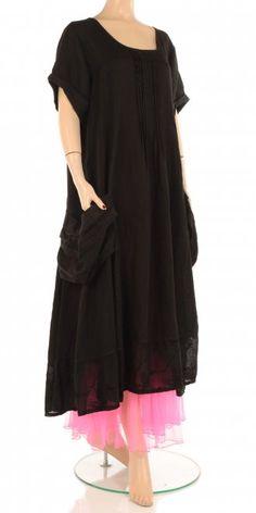 Eden Rock Black Linen Pleat Detail Dress  I really like the dress and the pink petticoat peeking through.