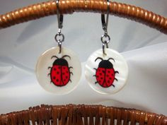 Lady Bug Earrings, Hand-Painted, Mother of Pearl, Reds, Lady Bug Dangles, Fun and Funky  $15.00