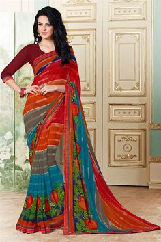 Attractive Red And Grey Color Printed Saree