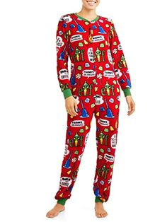 98b7259f0a Great for Elf Womens Christmas Union Suit Pajamas Drop Seat Pjs Lounge  Christmas Clothing.