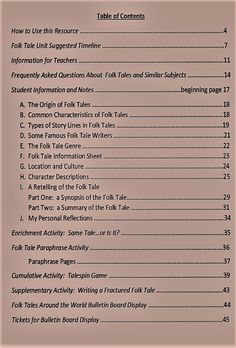Folk Tales Around the World--a comprehensive study for elementary students Student Information, Unit Plan, Elementary Teacher, Rubrics, Contents, Folk, Students, Around The Worlds, Study