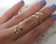 Gold adjustable chevron midi ring/mid ring/ knuckle ring