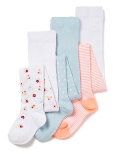 Made from a cotton rich material in a supersoft finish, these tights will make a great addition to their essential collection. Showcasing three various hues of white, blue and pink, they each present an individual pattern design. 3 Pack multicoloured floral supersoft tights 1x White floral 1x Blue spot 1x Pink stripe Cotton rich Keep away from fire
