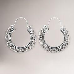 $54.99 Novica Balinese Lace Sterling Silver Hoop Earrings | World Market