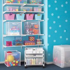 White Elfa Toy Storage Playroom: Containers, containers and some more containers!
