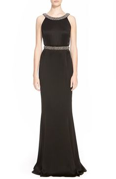 St. John Collection Hand Beaded Liquid Crepe Gown