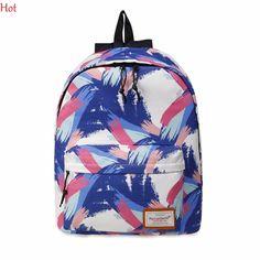 Fashion Zipper Closure Print Backpacks Korea Casual Travel School Bag Rucksack Contrast Color Blue Backpack SVN031186