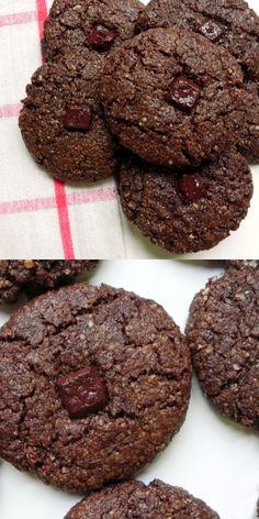 FLOURLESS Double Chocolate Chunk Cookies {Chocolate Almond Meal Cookies} - #GLUTENFREE #VEGAN #GRAINFREE - Ceara's Kitchen