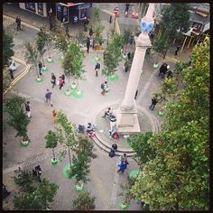 An aerial view of today's #popupforest around the Dial - did you come down and take part for #CarFreeDay? #regram