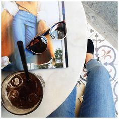 Ice coffee + magazine + Dior sunglasses #flatlay #dior #diorsoreal #summer