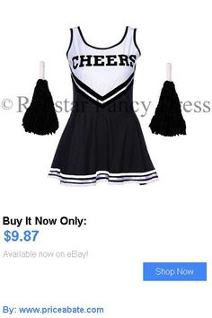 Women Costumes: Black Halloween Cheerleader Fancy Dress High School Uniform Costume   Pom Poms BUY IT NOW ONLY: $9.87 #priceabateWomenCostumes OR #priceabate