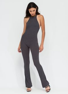 Extra Special Rib Knit Flared Jumpsuit CHARCOAL