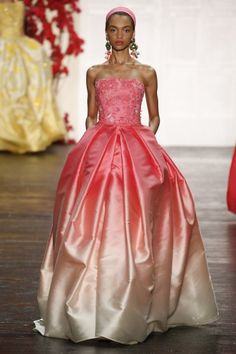 Best Luxe Looks NYFW: Naeem Khan's Vintage Mediterranean | Pink White Ombre Gown | The Luxe Lookbook