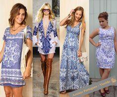 Vestidos com estamparia azulejo português