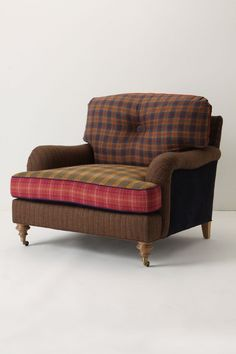 Winifred Colorblock Chair, Plaid - Anthropologie.com