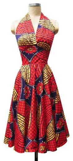 Dottie Dress   Tribal   1950s Inspired Halter Neck Dress