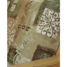 Amanda Spice futon cover offers striking and elegant abstract pattern. Features floral swirls, and squares on marbled background. Great color scheme of rusty brick, moth, tans and white.