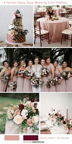8 Perfect Dusty Rose Wedding Color Palettes for 2019 - Party - . 8 perfect Dusty Rose wedding color palettes for 2019 – party – … Burgundy Wedding Colors, Dusty Rose Wedding, Fall Wedding Colors, Wedding Color Schemes, February Wedding Colors, Merlot Wedding, Wine Colored Wedding, Gold And Burgundy Wedding, Pastel Wedding Colors