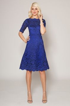 Lily Boutique Royal Blue Crochet Lace Three Quarter Sleeve Dress ...