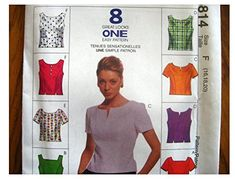 McCalls Sewing Patterns 8814 Misses Semi fitted top, Back Buttons Mccalls Sewing Patterns, Pillow Shams, Lilly Pulitzer, Fabric Design, Size 16, Tommy Hilfiger, Crafting, Ralph Lauren, Buttons