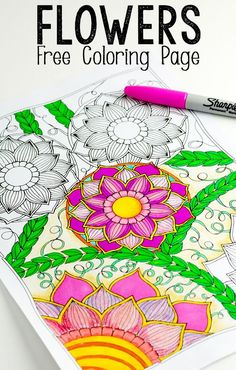 Flowers Coloring Page for Adults and Kids