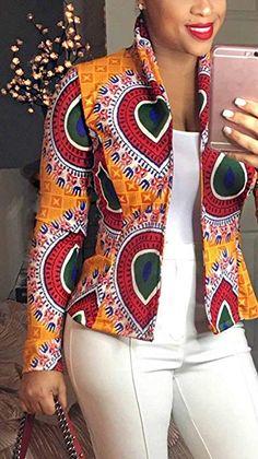 Women Dashiki Long Sleeve Fashion African Print Dashiki Short Casual Jacket Hot Sale Jackets from Women's Clothing on AliExpress Short African Dresses, African Blouses, Latest African Fashion Dresses, African Print Dresses, African Print Fashion, Africa Fashion, African Prints, Ankara Fashion, African Fabric