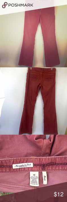 "Abercrombie and Fitch Pink Corduroy Pants Size 10 Abercrombie and Fitch Pink Stretch Bootcut Corduroy Pants Size 10. Length 40"", Waist 17 5/8"", inseam 30"". These are great for fall and winter weather! Thanks for shopping my closet! Abercrombie & Fitch Pants Boot Cut & Flare"