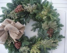 Country Christmas Wreath   Rustic Holiday Wreath   Wedding Wreath For December Bride  Holiday Wreath  Natural Wreath Burlap