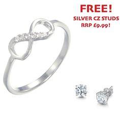 Sterling Silver Cubic Zirconia Mini Infinity Ring - John Stewart Jewellers