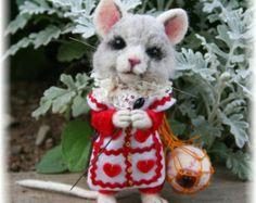 Tha Mad Hatter's Sidekick, Mallymkum, the Dormouse OOAK Needle felted Artist Character Doll