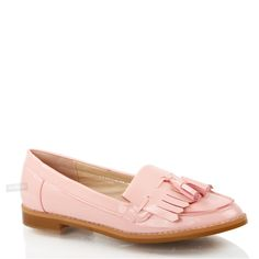 WOMENS-LADIES-FLAT-CASUAL-OFFICE-PATENT-FAUX-LEATHER-FRINGE-TASSEL-LOAFERS-SHOES