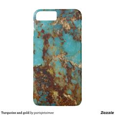 #turquoise #gold #iphone7 Turquoise and gold iPhone 7 plus case