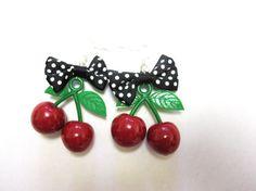 Cherry Earrings Polka Dot Bow Black White Red by sweetie2sweetie, $10.99