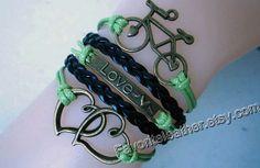 Fashion charm bracelets bronze bikes by Favoriteleather on Etsy, $6.99