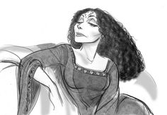 """Mother Gothel in """"Tangled"""" - cosmoanimato Disney Art Style, Disney Concept Art, Character Design Animation, Character Drawing, How To Draw Braids, Concept Draw, Toddler Art Projects, Disney Tangled, Walt Disney"""