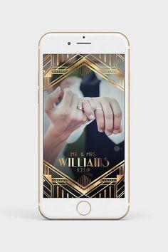 gatsby snapchat filter, art deco geofilter, wedding snapchat
