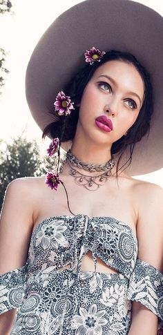 Boho Style ~ boho hat, flower weave, choker necklace, lace dress, off the shoulder, bohemian style, women's fashion, outfit ideas, clothing, indie fashion
