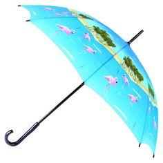 Leighton Flamingo Print Wooden-handle Umbrella   Overstock.com Shopping - Great Deals on Leighton Umbrellas